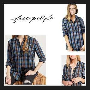NWT Free People Magical Embroidered Button Down XS
